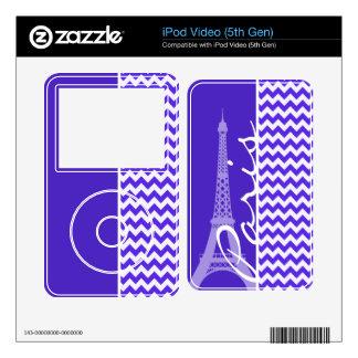 Blue Violet Chevron; Eiffel Tower iPod Video 5G Skins