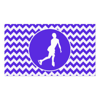 Blue Violet Chevron; Figure Skating Business Card Templates