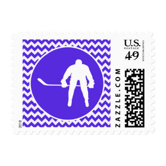 Blue Violet Chevron; Hockey Postage