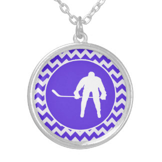 Blue Violet Chevron; Hockey Silver Plated Necklace
