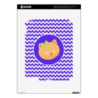 Blue Violet Chevron; Kitten iPad 3 Skins