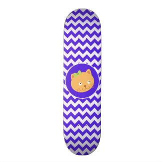 Blue Violet Chevron Kitten Skateboard Decks