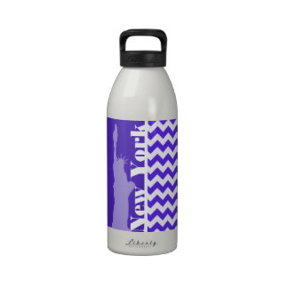 Blue Violet Chevron; New York Water Bottle