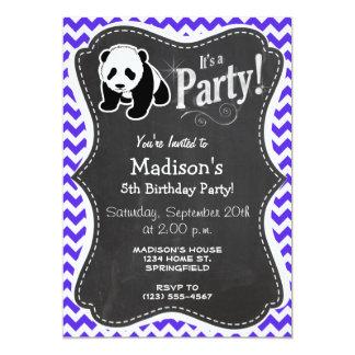 Blue Violet Chevron; Panda 5x7 Paper Invitation Card