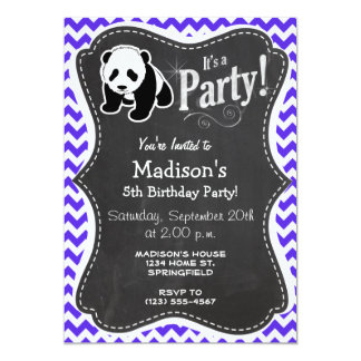 Blue Violet Chevron; Panda Card