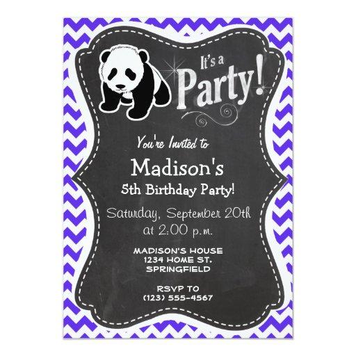 Blue Violet Chevron; Panda Invitations