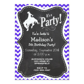 Blue Violet Chevron; Rodeo Card