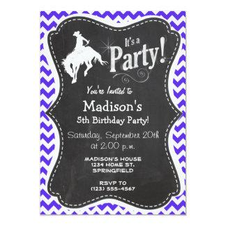 "Blue Violet Chevron; Rodeo 5"" X 7"" Invitation Card"