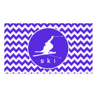 Blue Violet Chevron; Snow Ski Double-Sided Standard Business Cards (Pack Of 100)