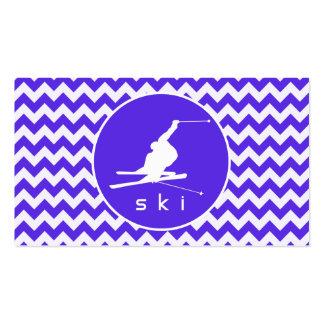 Blue Violet Chevron; Snow Ski Business Card