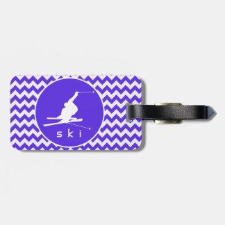 Blue Violet Chevron; Snow Ski Tag For Luggage