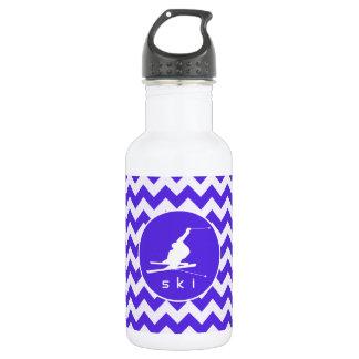 Blue Violet Chevron; Snow Ski Water Bottle
