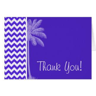 Blue Violet Chevron; Tropical Palm Card