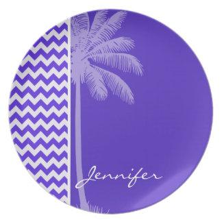 Blue Violet Chevron; Tropical Palm Plates