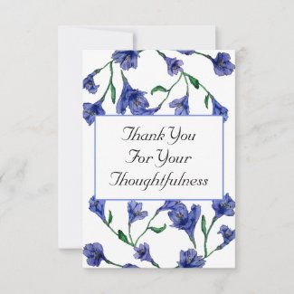 Blue Violet Clematis Watercolor Floral Wedding Thank You Card