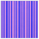 [ Thumbnail: Blue & Violet Colored Stripes Pattern Fabric ]