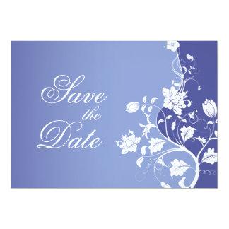 Blue Violet Floral Save the Date Card