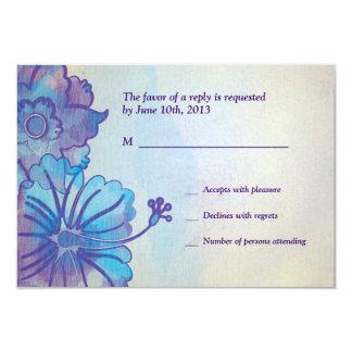 "Blue & Violet Floral Watercolor RSVP Cards 3.5"" X 5"" Invitation Card"