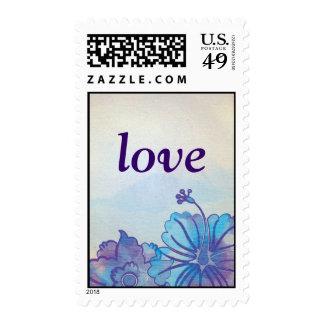 Blue & Violet Floral Watercolor RSVP Stamps