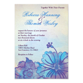 "Blue & Violet Floral Watercolor Wedding Invitation 5"" X 7"" Invitation Card"
