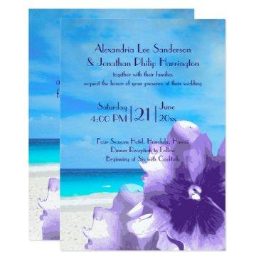 Wedding Themed Blue violet flowers   beach, sand, blue sky card