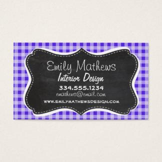 Blue Violet Gingham; Chalkboard look Business Card