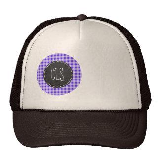 Blue Violet Gingham; Chalkboard look Trucker Hats