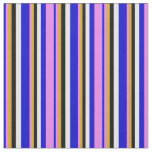 [ Thumbnail: Blue, Violet, Goldenrod, Black & White Colored Fabric ]