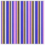 [ Thumbnail: Blue, Violet, Goldenrod, Black & White Colored Fabric ]