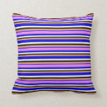 [ Thumbnail: Blue, Violet, Goldenrod, Black & White Colored Throw Pillow ]