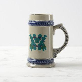 Blue Violet Green Rorschach on Blue/Grey Steiner Beer Stein