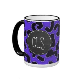 Blue Violet Leopard Print; Vintage Chalkboard look Ringer Mug