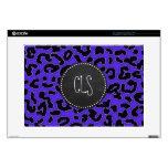 """Blue Violet Leopard Print; Vintage Chalkboard look Skin For 15"""" Laptop"""