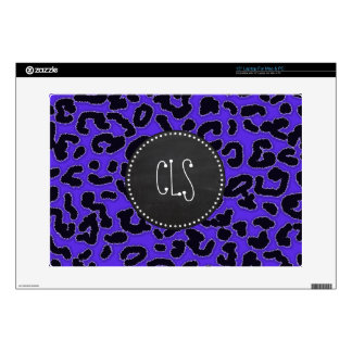 "Blue Violet Leopard Print; Vintage Chalkboard look Skin For 15"" Laptop"