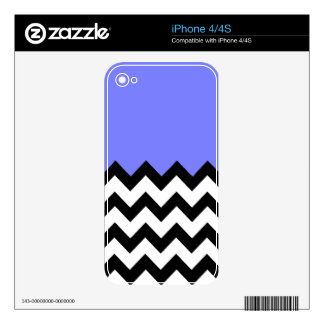 Blue-Violet-On-Black-&-White-Zigzag-Pattern Skin For The iPhone 4