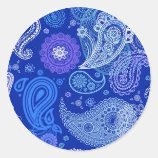 Blue violet Paisley Classic Round Sticker