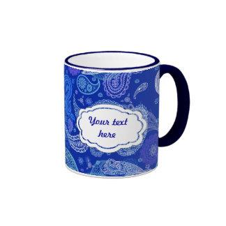 Blue violet  paisley customizable ringer mug