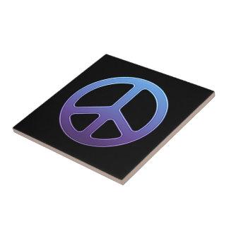 Blue-Violet Peace Sign Ceramic Tile