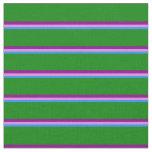 [ Thumbnail: Blue, Violet, Purple & Green Stripes Fabric ]