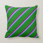 [ Thumbnail: Blue, Violet, Purple & Green Stripes Throw Pillow ]