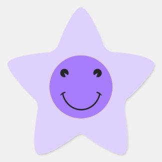 Blue Violet Smiley Face Star Sticker