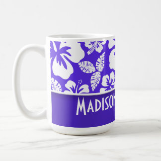 Blue Violet Tropical Hibiscus; Personalized Coffee Mug