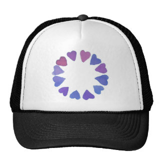 blue/ violet watercolor hand painted heart design trucker hat