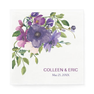Blue Violet Wild Roses Wedding Napkin
