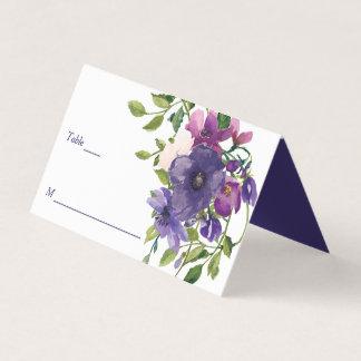 Blue Violet Wild Roses Wedding Place Card