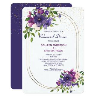 Blue Violet Wild Roses Wedding Rehearsal Dinner Invitation
