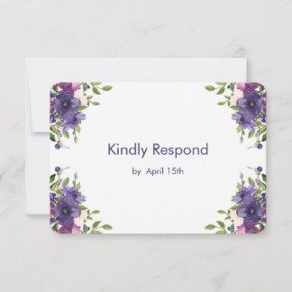 Blue Violet Wild Roses Wedding RSVP Card