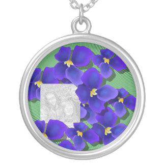 Blue Violets Round Pendant Necklace