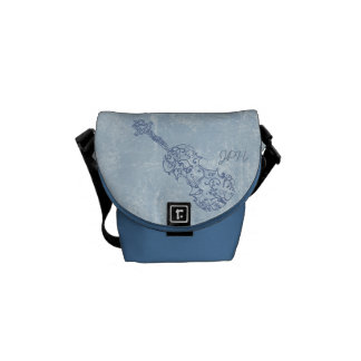 Blue Violin Line Drawing Customizable Messenger Bags