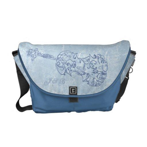 Blue Violin Line Drawing Customizable Messenger Bag